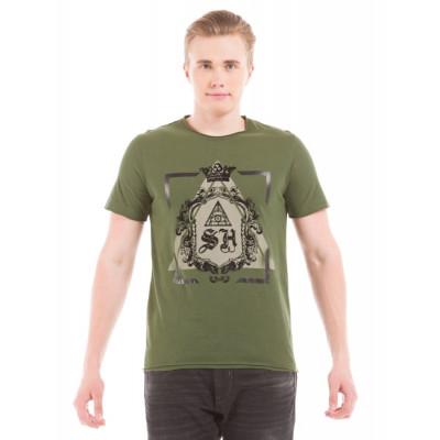 Shuffle Light Olive Print T-shirt