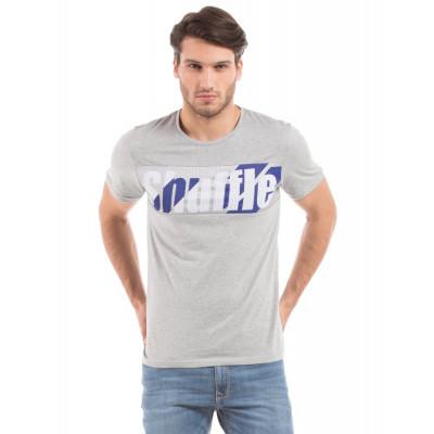 Shuffle Grey Mesh Print T-shirt
