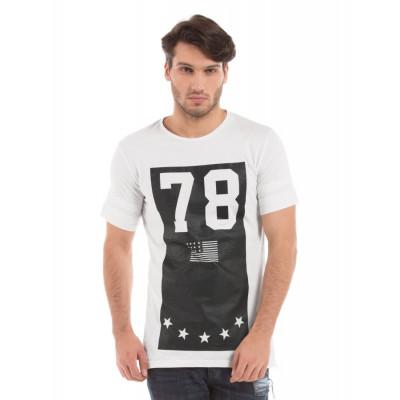 Shuffle Off White Long Line Printed T-shirt