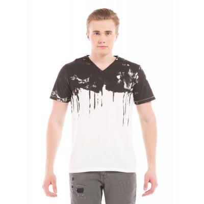 Shuffle Monochromatic Placement Print T-Shirt
