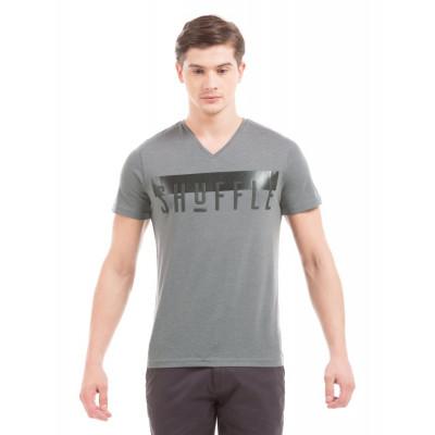 Shuffle Cement Melange Printed V-Neck T-Shirt