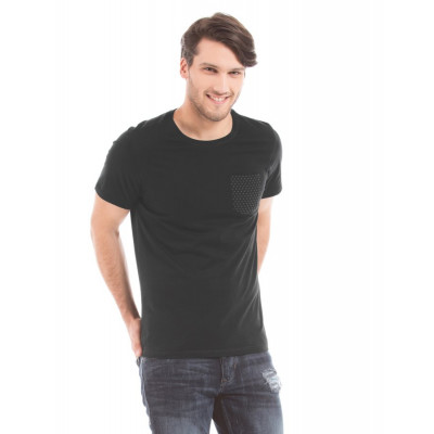 Shuffle Black T-shirt With Faux Leather Pocket