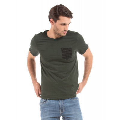 Shuffle Military Green T-shirt With Faux Leather Pocket