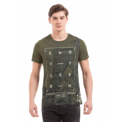 Shuffle Olive Printed T-Shirt