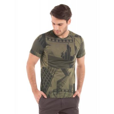 Shuffle Olive Sublimation Print T-shirt