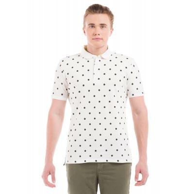 Shuffle White Polka Dotted Polo T-Shirt