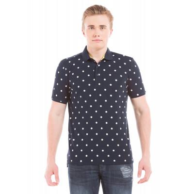 Shuffle Navy Polka Dotted Polo T-Shirt