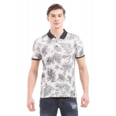 Shuffle Off White Tropical Print Polo T-Shirt