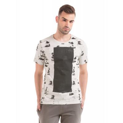 Shuffle Ecru Melange Printed T-shirt