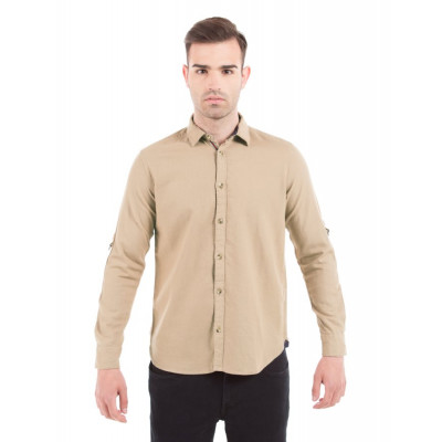 Shuffle Beige Cotton Linen Shirt with Sleeve D-Rings