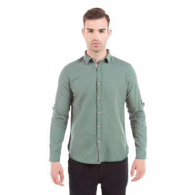 Shuffle Green Cotton Linen Shirt with Sleeve D-Rings