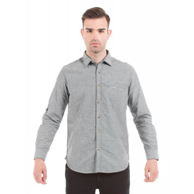 Shuffle Grey Neps Shirt with Contrast Pocket Square