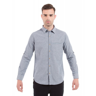 Shuffle Blue Neps Shirt with Contrast Pocket Square