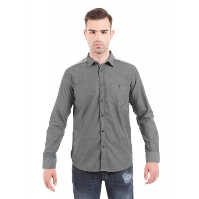 Shuffle Broken Twill Grey Shirt With Reverse Play