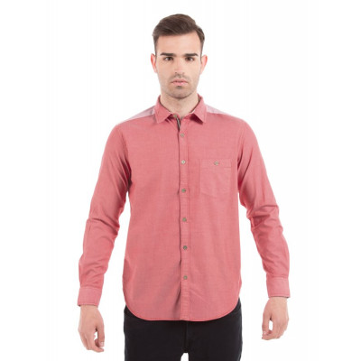 Shuffle Broken Twill Red Shirt With Reverse Play