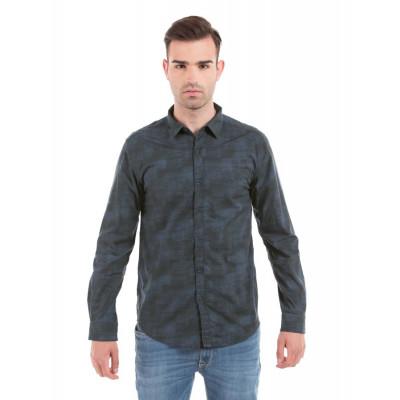 Shuffle Blue Colour Gradient Print Shirt