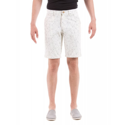 Shuffle White Grid Print Shorts
