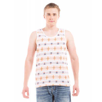 Shuffle Off White Jacquard Vest T-Shirt
