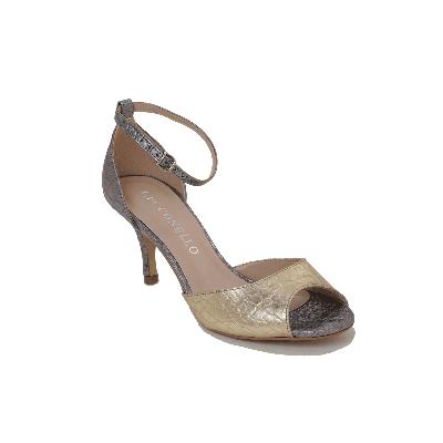 Cecconello Golden Peep Toe Low Heeled Sandal