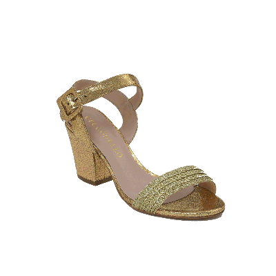 Cecconello Textured Golden Block Heeled Sandal