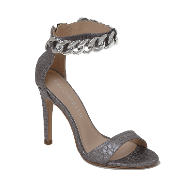 Cecconello Pewter High Heeled Sandal With Chain Ankle Strap