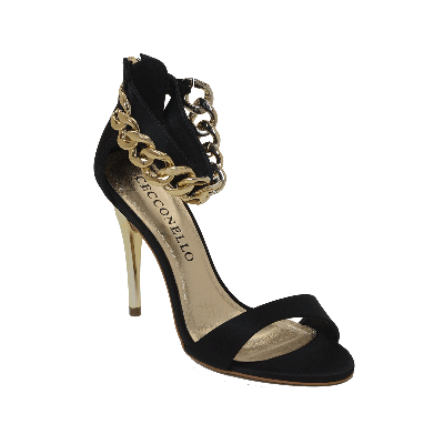 Cecconello Black High Heeled Sandal With Chain Ankle Strap