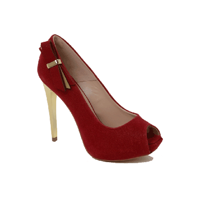 Cecconello Red Peep Toe Stilettos With Side Bow