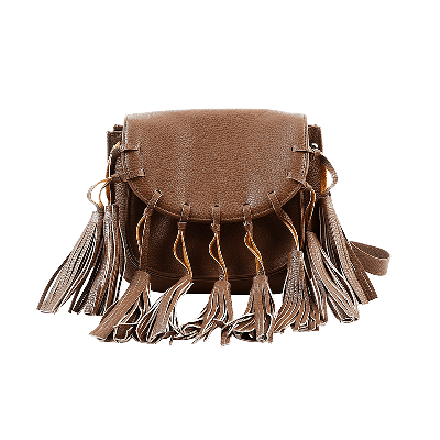 Elle Brown Sling Bag with Tasselled Front