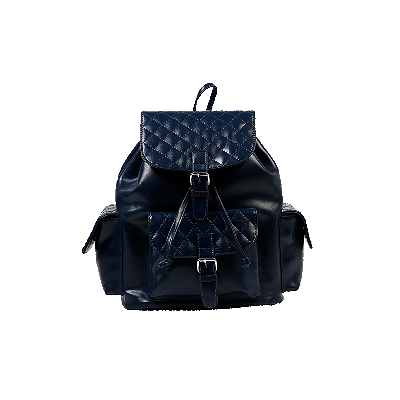 Navy Blue Quilted Backpack