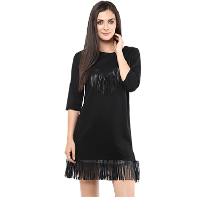 Remanika Knitted Shift Dress With Tassels