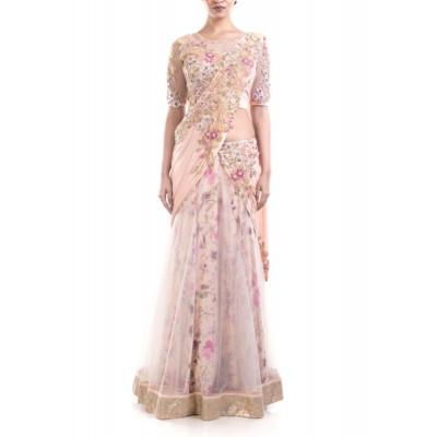 Anushree Agarwal Pink Floral Lehenga Gown