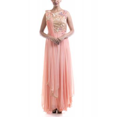 Anushree Agarwal Peach Embellished Suit Set