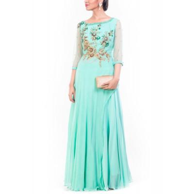 Anushree Agarwal Turquoise Palazzo Set