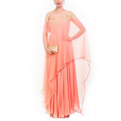 Anushree Agarwal Peach Drape Dupatta Suit