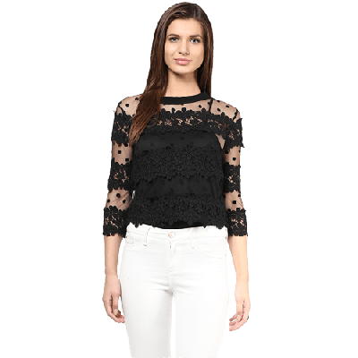 Remanika Knitted Floral Lace And Net Top