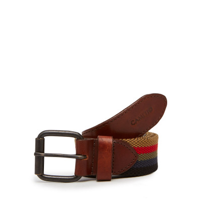 Camelio Multi-coloured Canvas and Leather Belt
