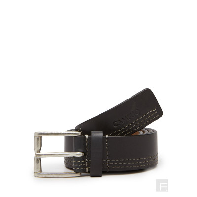 Camelio Multi-stitched Black Leather Belt