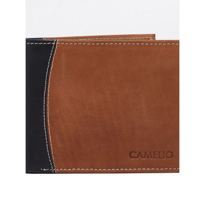 Camelio Contrast Panelled Tan Wallet