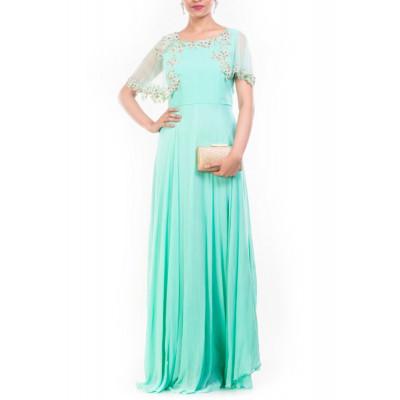 Anushree Agarwal Turquoise Gown