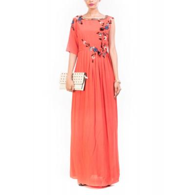 Anushree Agarwal Orange Maxi & Slim Fit Trouser Set