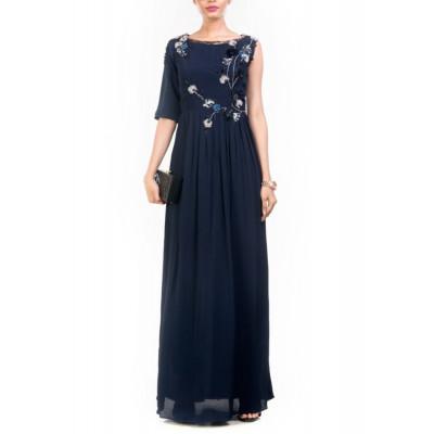Anushree Agarwal Navy Blue Maxi & Trouser Set