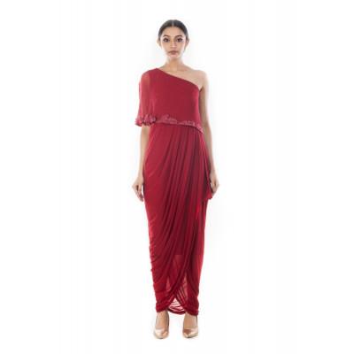 Anushree Agarwal Wine One-shouldered Dress