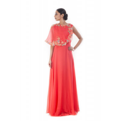 Anushree Agarwal Coral Peach Embellished Gown