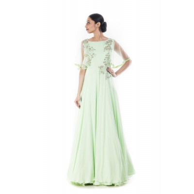 Anushree Agarwal Pistachio Green Embellished Gown