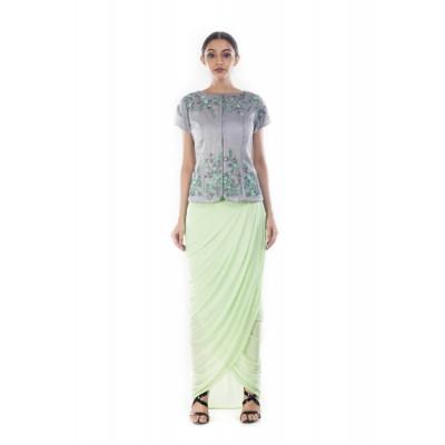Anushree Agarwal Green and Grey Jacket and Skirt