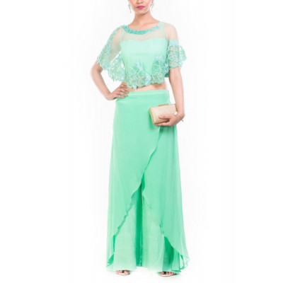 Anushree Agarwal Turquoise Cape & Palazzo Set