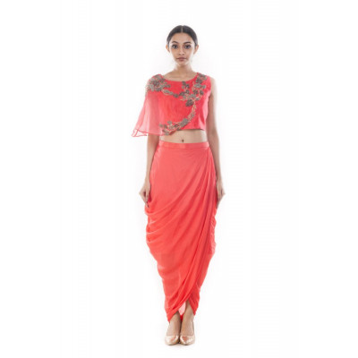 Anushree Agarwal Peach Crop Top and Skirt