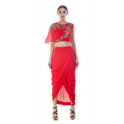 Anushree Agarwal Crimson Crop Top and Skirt