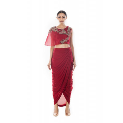 Anushree Agarwal Wine Crop Top and Skirt