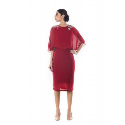 Anushree Agarwal Wine Cape Dress